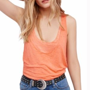 Free People Coral Karmen Layered Tank Top Small